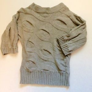 Anne Klein chunky grey sweater with wave design
