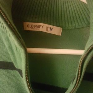 Old Navy Sweaters - Green & navy striped quarter zip