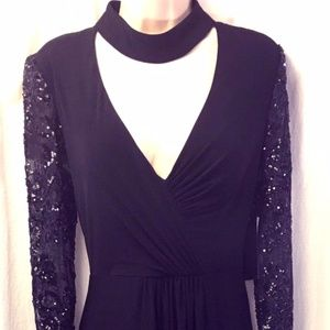 Betsy & Adam Black Formal Gown Long Sleeve 10