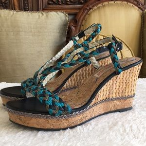 Two Lips braided platform wedges