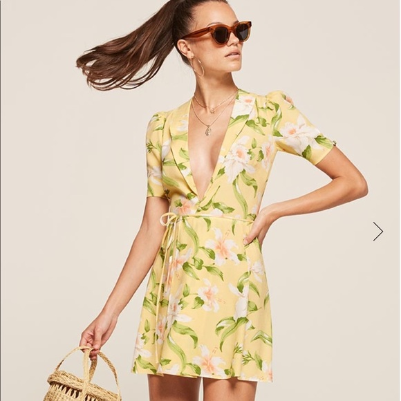 ac5b2ec911 Reformation yellow wrap dress