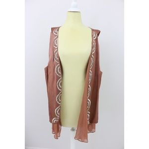 High Low Chiffon Trimmed Bohol Vest