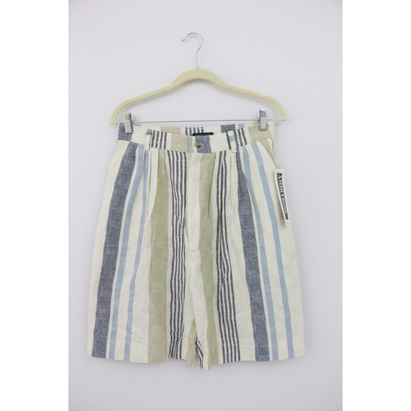 Vintage Pants - Vintage High Waist Striped Bermuda Shorts