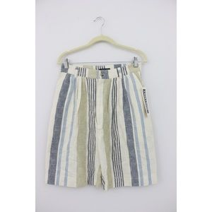Vintage High Waist Striped Bermuda Shorts
