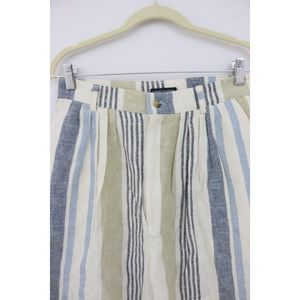 Vintage Shorts - Vintage High Waist Striped Bermuda Shorts