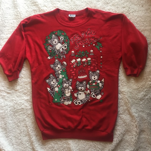 Vintage Tops - Vintage Tacky Christmas Kitten Cat Sweater Dress