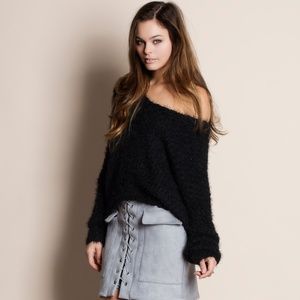 Low Back Fuzzy Soft Sweater