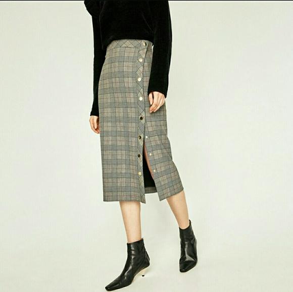 c1b4a82c Zara Skirts | Sexy Conservative Plaid Fitted Midi Skirt | Poshmark