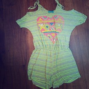Girls Shorts Jumpsuit Cold Shoulder Sz 10/12