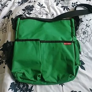 Trendy Green Canvas SKIP HOP Diaper Bag with Pad