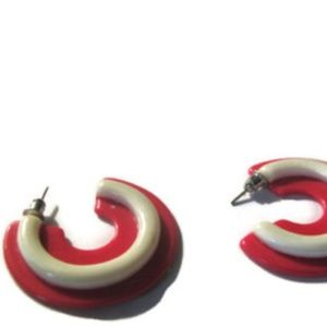 Mod Hot pink and white flat hoop earrings 1960s