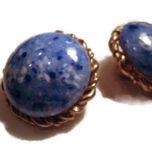 mottled blue stone classic clip earrings 1950s vtg