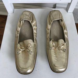Ferragamo Gold Metallic Loafers