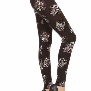 0874ab102b Legging Depot Pants - LAST CHANCE!!! Skeleton Owls Leggings Buttery Soft