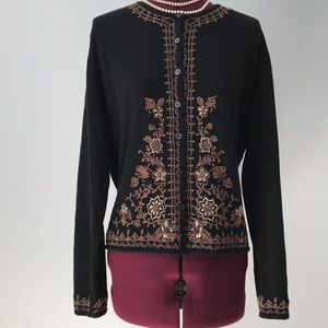 J. Jill Embroidered  beaded cardigan large