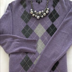 Sweaters - CASHMERE Lavender and gray argyle sweater.