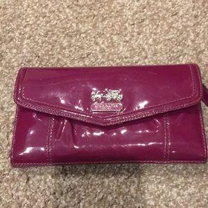 Wallet plum color check book holder inside