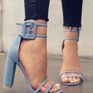 Coming soon ! Deniem clears strap heels .