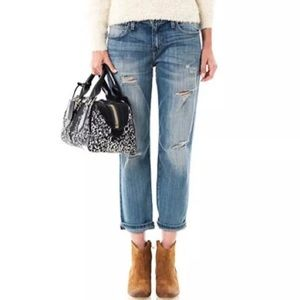 Current Elliot distressed crop jeans