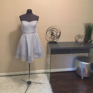 White netting strapless skater dress