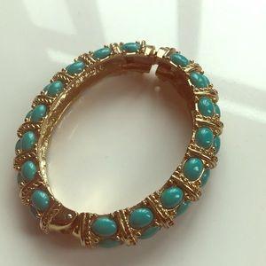 Kenneth Jay Lane turquoise and gold bangle
