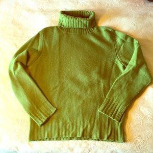 Apple green cashmere turtleneck sweater. M.