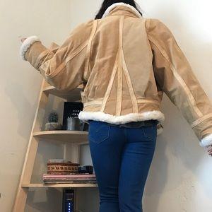Jackets & Blazers - Vintage Cream Leather Bomber Coat