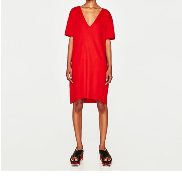 e7ca138e Zara Dresses | Red V Neck Dress | Poshmark