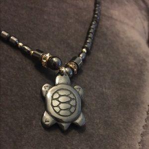 Jewelry - Dark Green-Grey Turtle Pendant Beaded Necklace