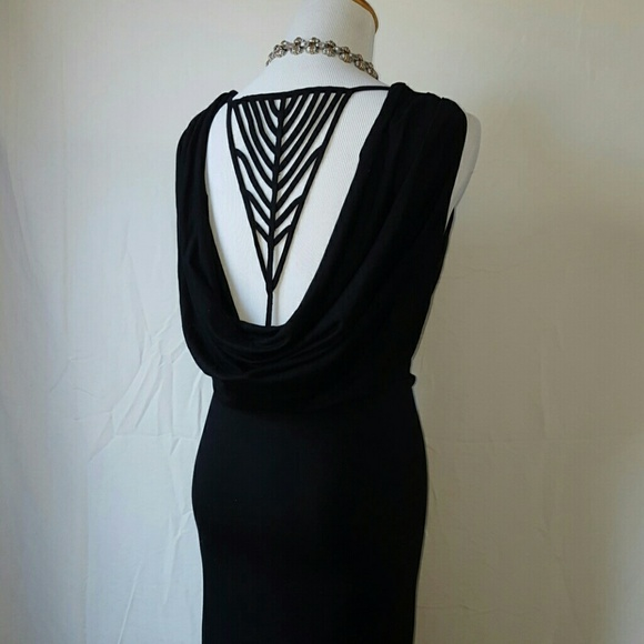9a7545681b Sexy back detail black jersey maxi dress