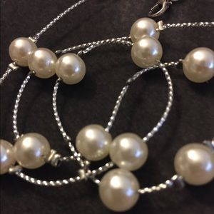 Silver and White Pearl Beaded Necklace