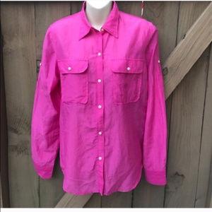Ralph Lauren cotton & silk pink blouse size M