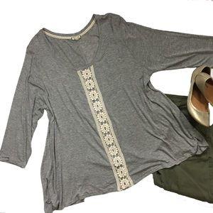 Eyelash crochet trim top shirt tee 3/4 sleeve