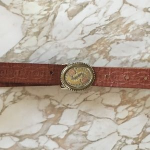 Embossed Vintage Leather Belt Multi-Metal Buckle