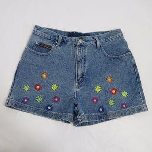 VTG 90s Embroidered High Waist Jean Shorts  *JJ8