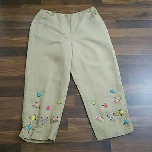 Larry Levine Linen Flower Capri Pants Size 12