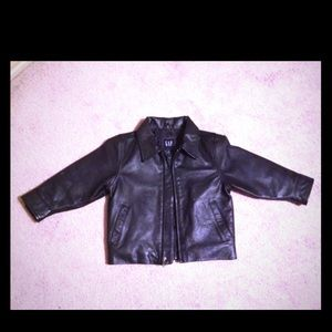 GAP Black leather jacket size: XXS
