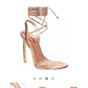 dee3020188 SIMMI Shoes | Ella Rose Gold Clear Lace Up Heel | Poshmark