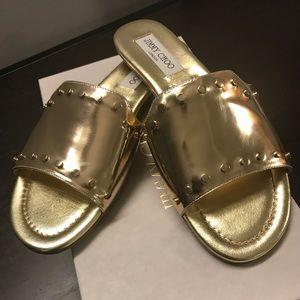 Jimmy Choo Nanda Gold Studded Sandals