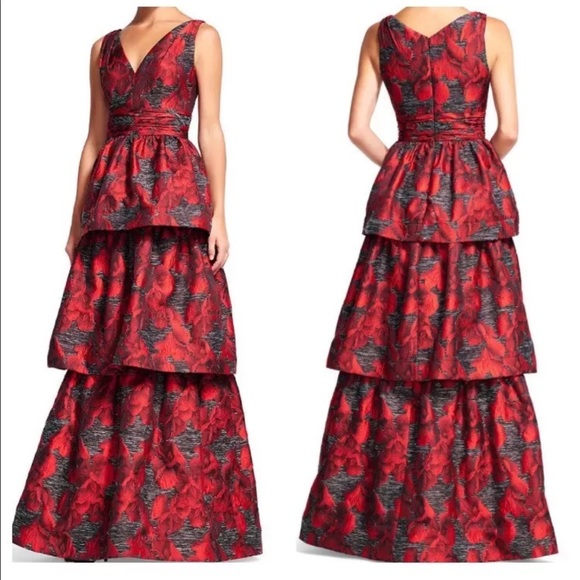 Adrianna Papell Dresses | Sold Tiered Jacquard Gown | Poshmark