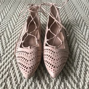 Topshop pink blush lace up pointy toe flats