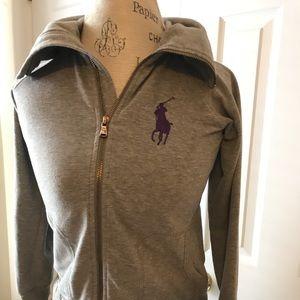 Ralph Lauren Small Grey Zip Front Sweatshirt Horse