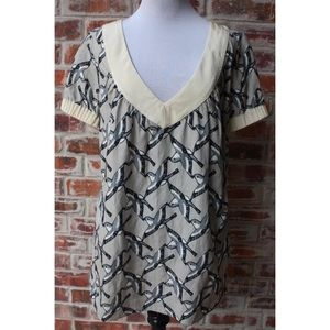 Rory Beca Medium M V-Neck Bird Shirt Blouse Top