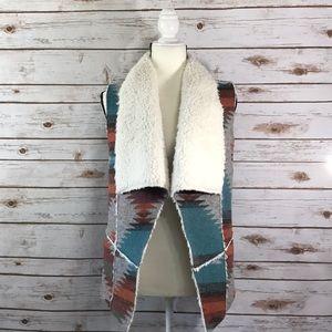 Aztec Print Fleece Lined Tier Front Vest