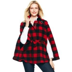 Red C. Wonder Plaid Belted Cape