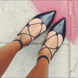 TopShop lace up black flats