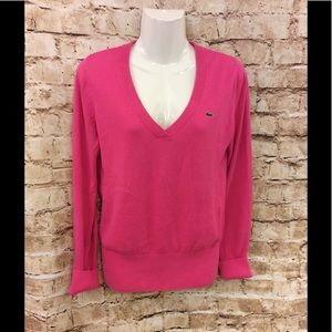 Lacoste 100% cotton V-neck pink sweater size 38/m