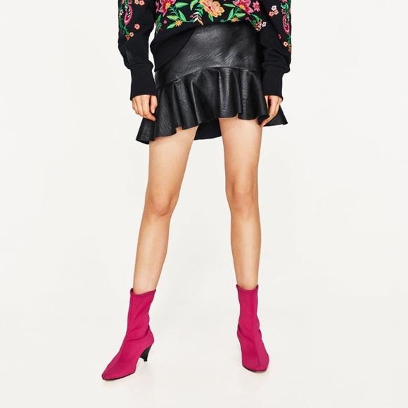ea5f08aac Zara Skirts | Ruffle Faux Leather Mini Skirt | Poshmark
