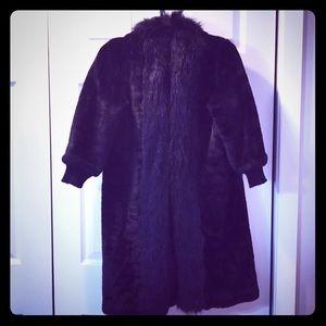 ZARA/ZARA Woman  black faux fur coat