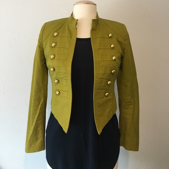 ddb6d70bc78066 Forever 21 Jackets   Blazers - Chartreuse Green Military Jacket With Gold  Buttons